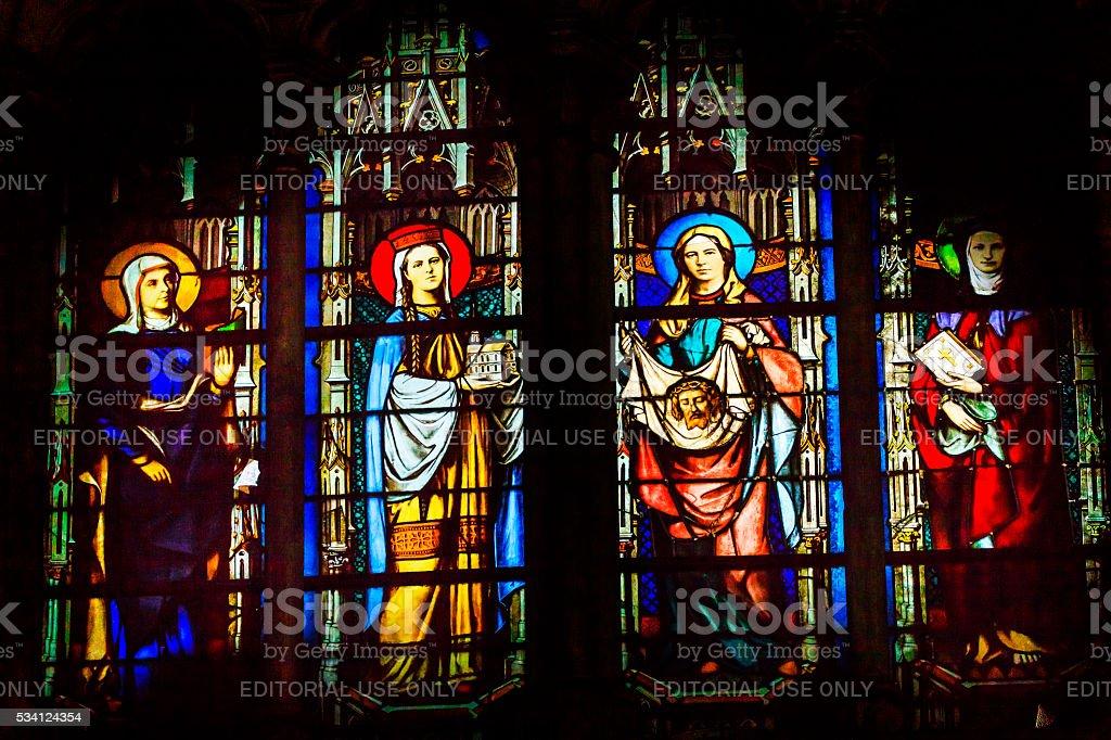 Saint John Baptist Stained Glass Saint Severin Church Paris France stock photo