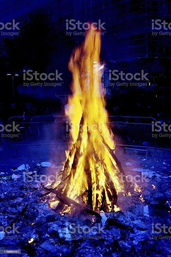 saint john eve bonfire celebration at summer solstice stock photo