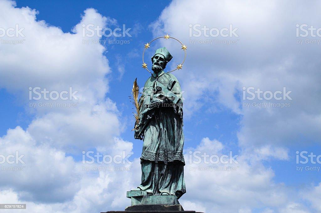 Saint John Nepomuk on the Charse bridge stock photo