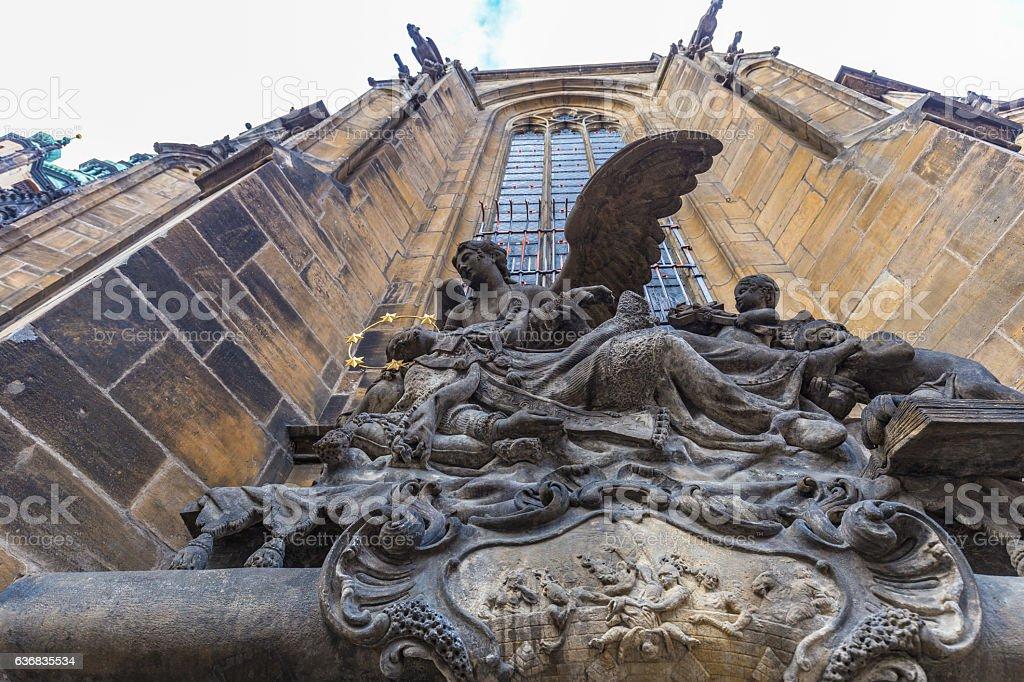 Saint John of Nepomuk statue, St Vitus Cathedral, Prague stock photo