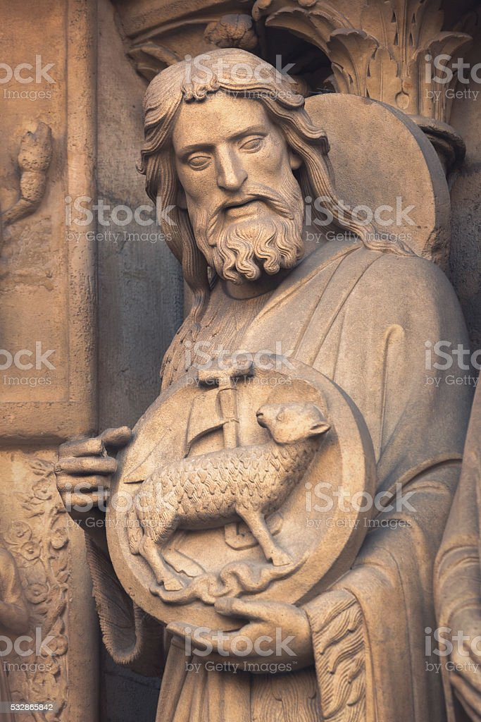 Saint John the Baptist sculpture stock photo