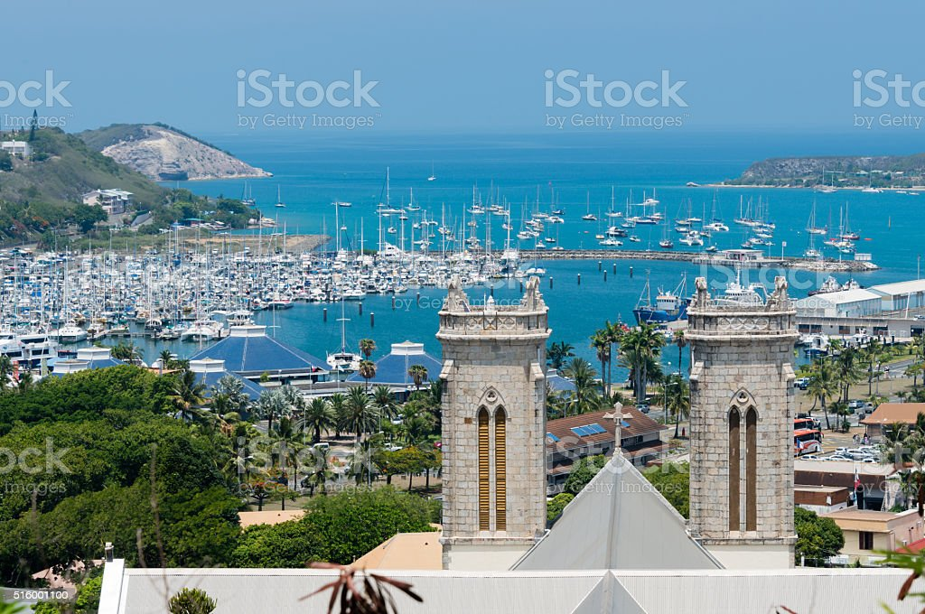 Saint Joseph Cathedral and the Moselle Bay stock photo
