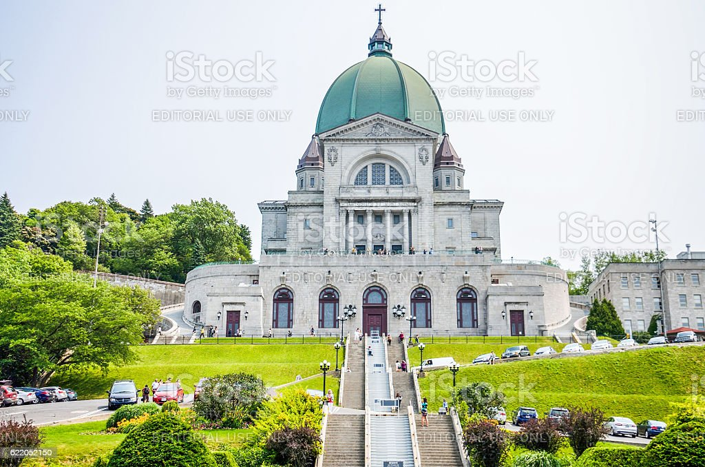 Saint Joseph's Oratory of Mount Royal with steps and people stock photo