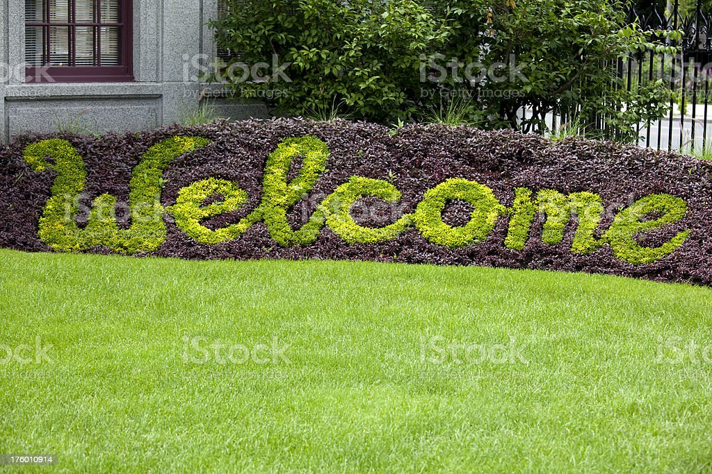 Saint Joseph's Oratory, Welcome Greeting Sign, Montreal Canada royalty-free stock photo