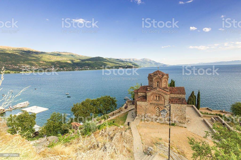 Saint Jovan at Kaleo at Lake Ohrid in Macedonia stock photo