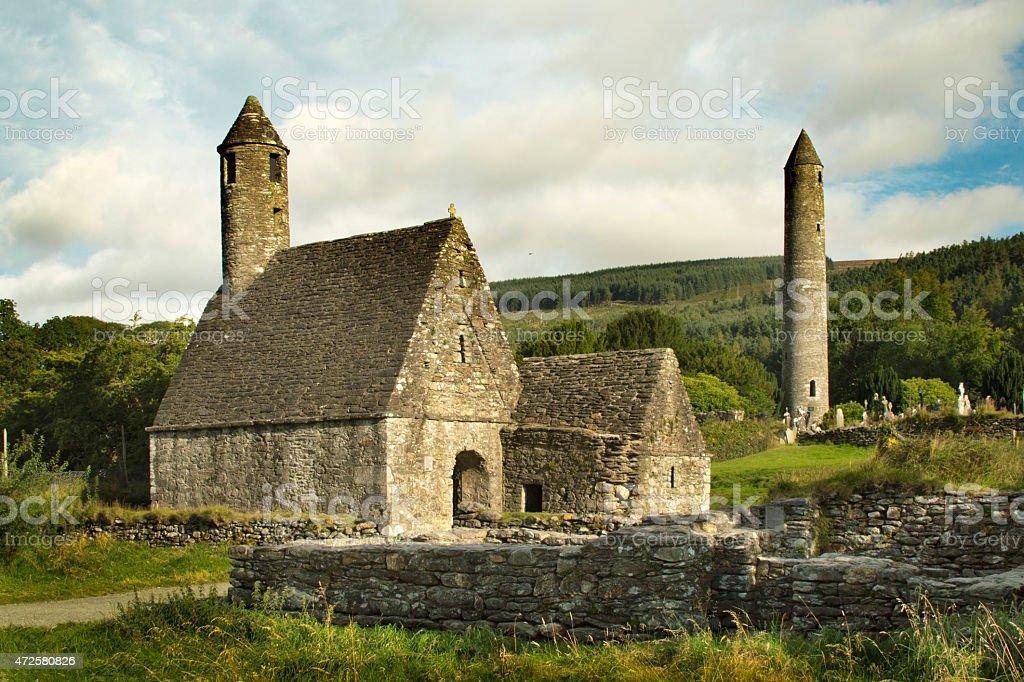 Saint Kevin's monastery in Glendalouch, Ireland stock photo
