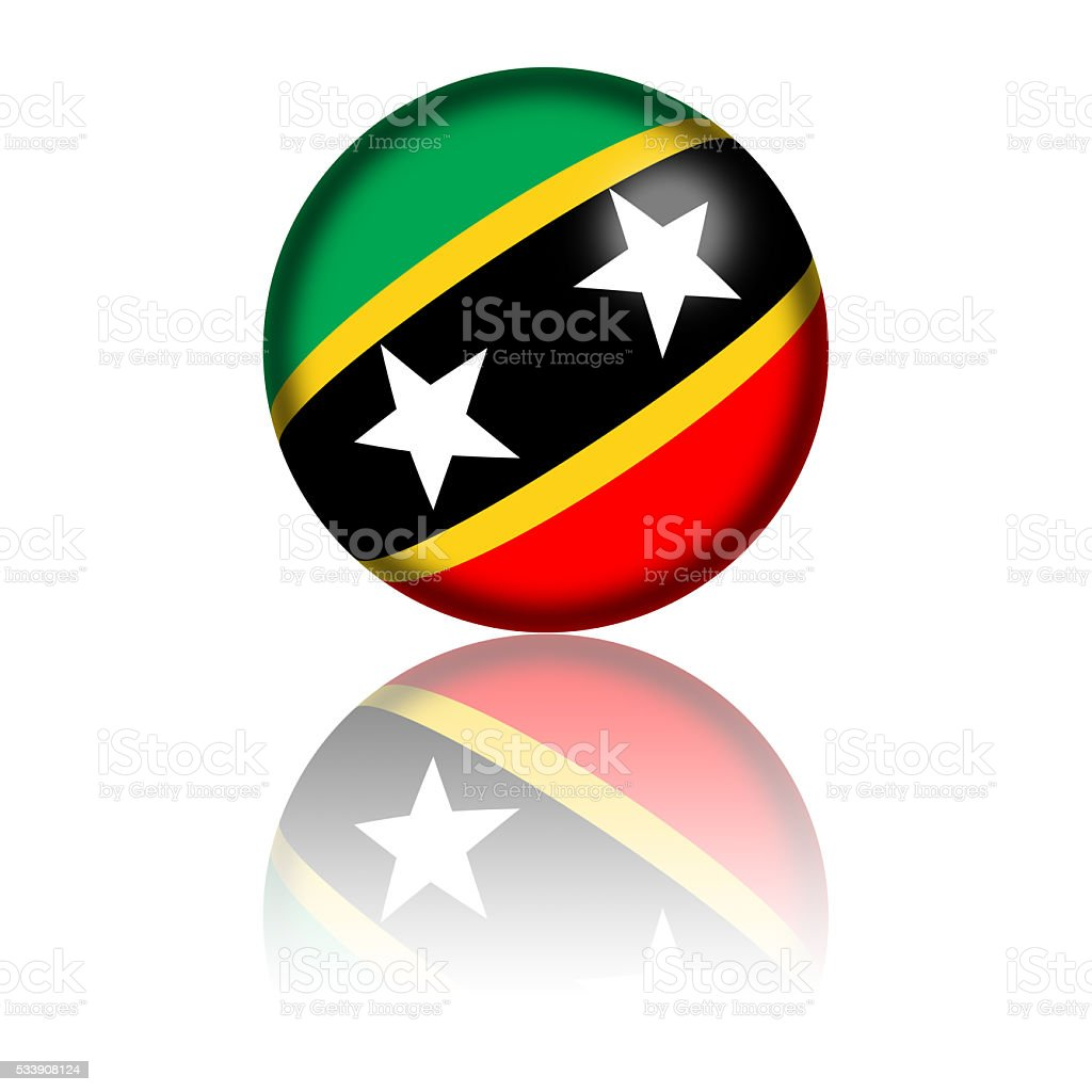 Saint Kitts and Nevis Flag Sphere 3D Rendering stock photo