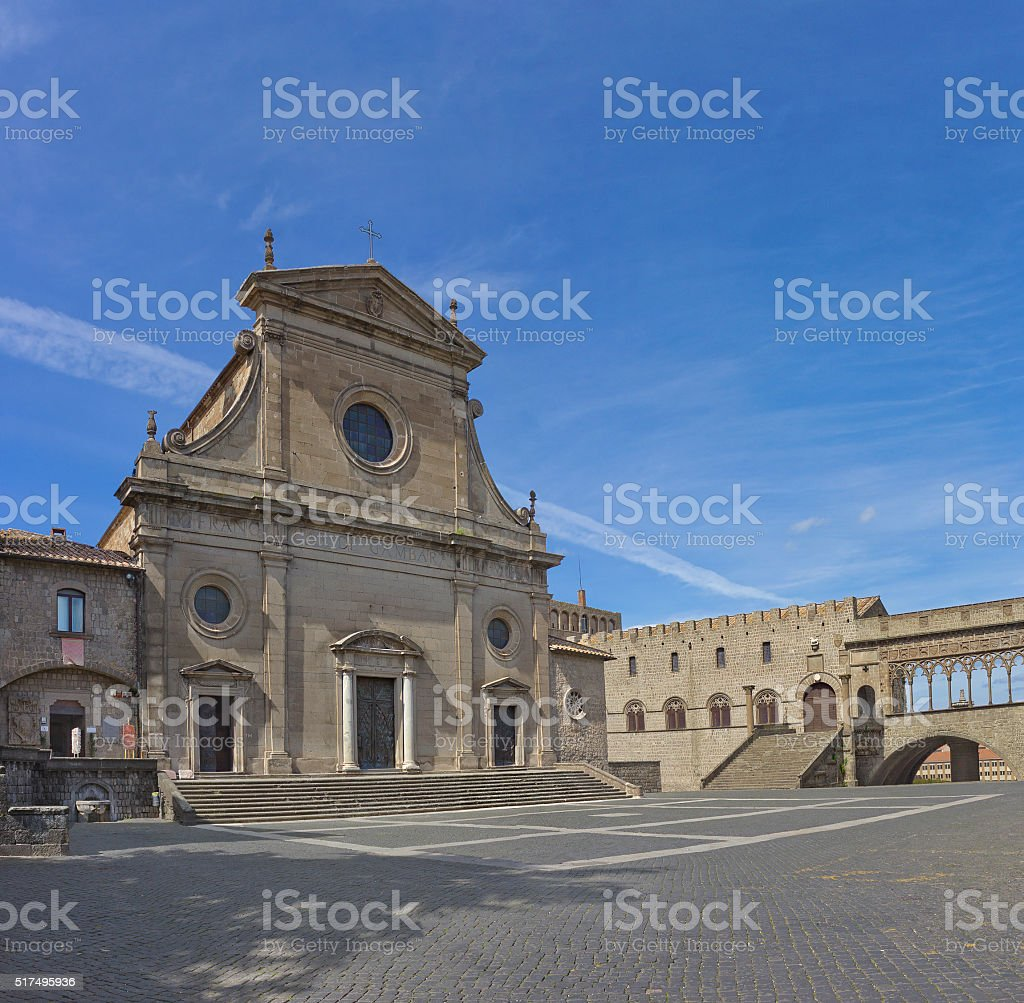 Saint Lawrence Cathedral (Cattedrale di San Lorenzo) in Viterbo,  Italy. stock photo