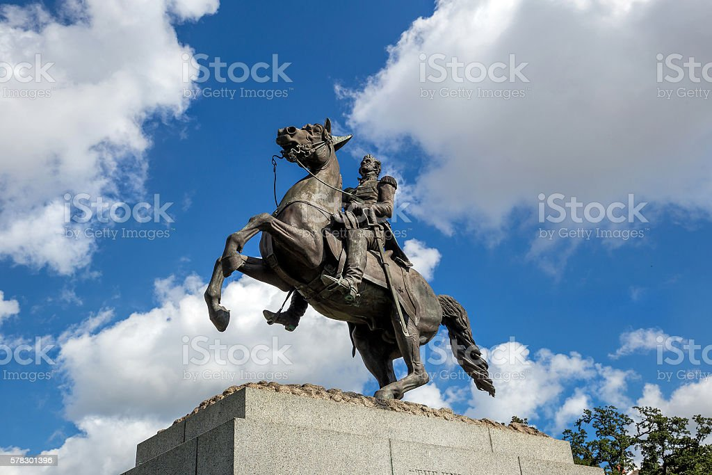 Saint Louis Cathedral and statue of Andrew Jackson stock photo