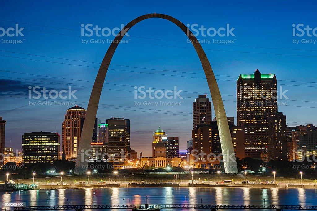 Saint Louis Skyline at Night stock photo