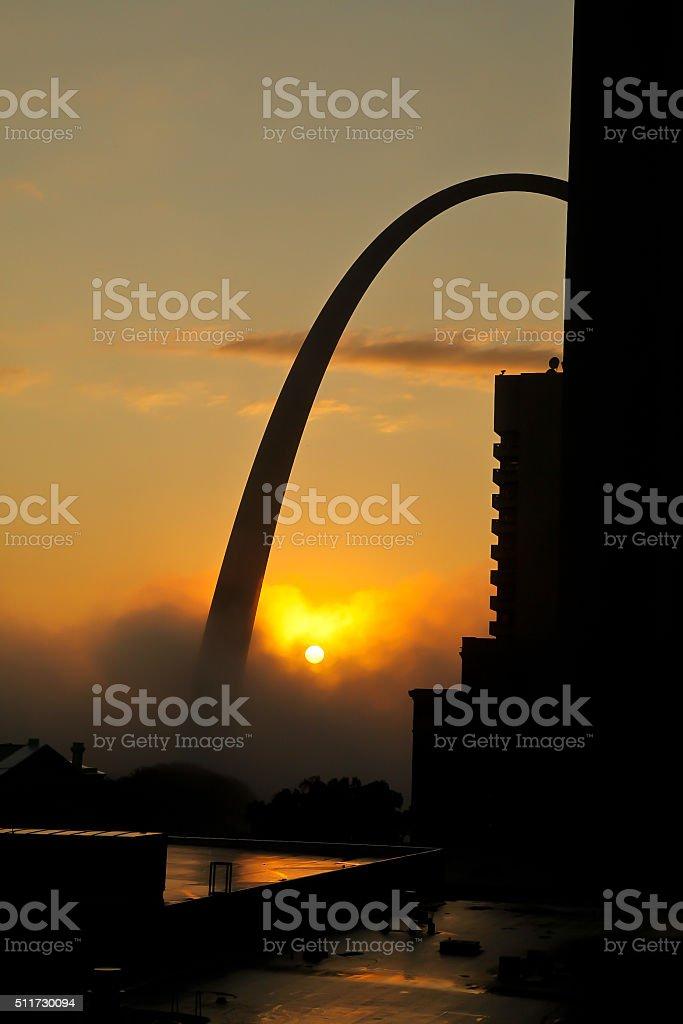 Saint Louis Sunrise and Gateway Arch stock photo