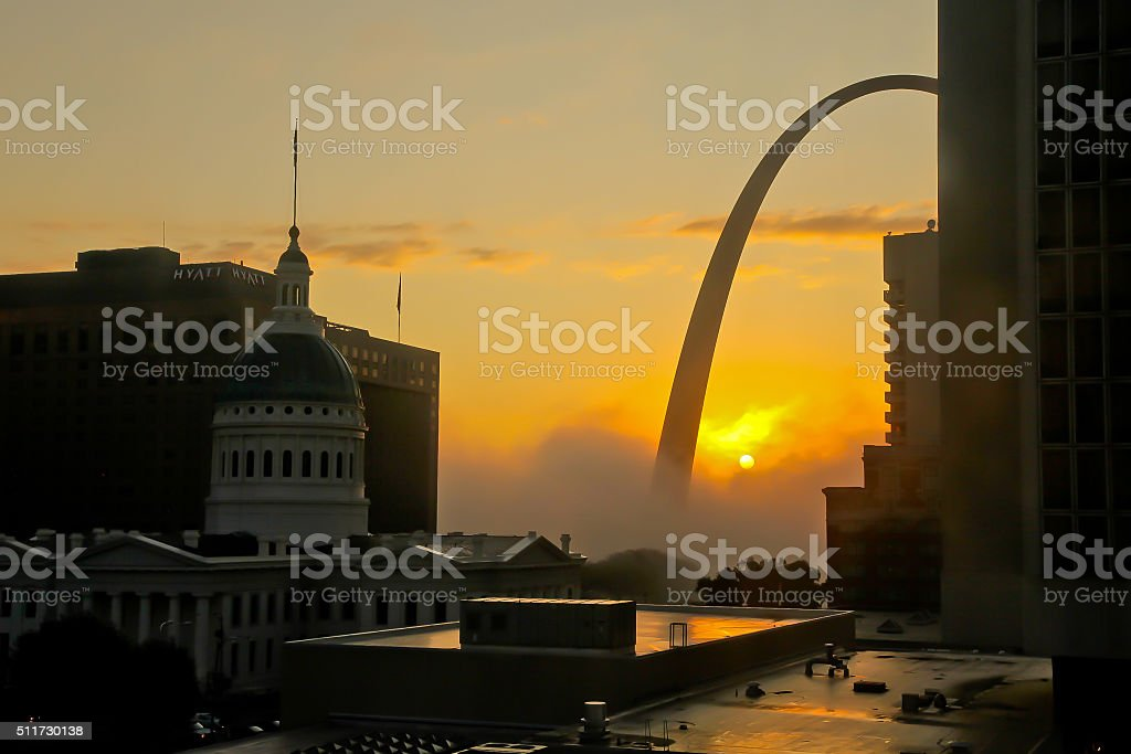 Saint Louis Sunrise and Gateway Arch stock photo
