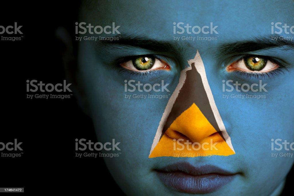 Saint Lucia flag boy stock photo