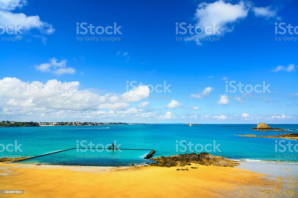 Saint Malo beach view from wall ramparts fort. Brittany, Fra stock photo
