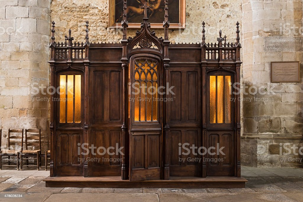 Saint Malo Cathedral confessionary stock photo