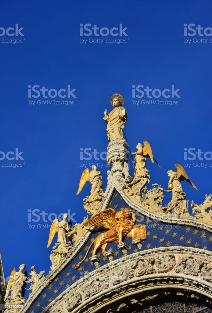 Saint Mark Basilica medieval statues stock photo
