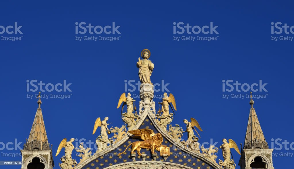 Saint Mark Basilica top medieval decoration stock photo