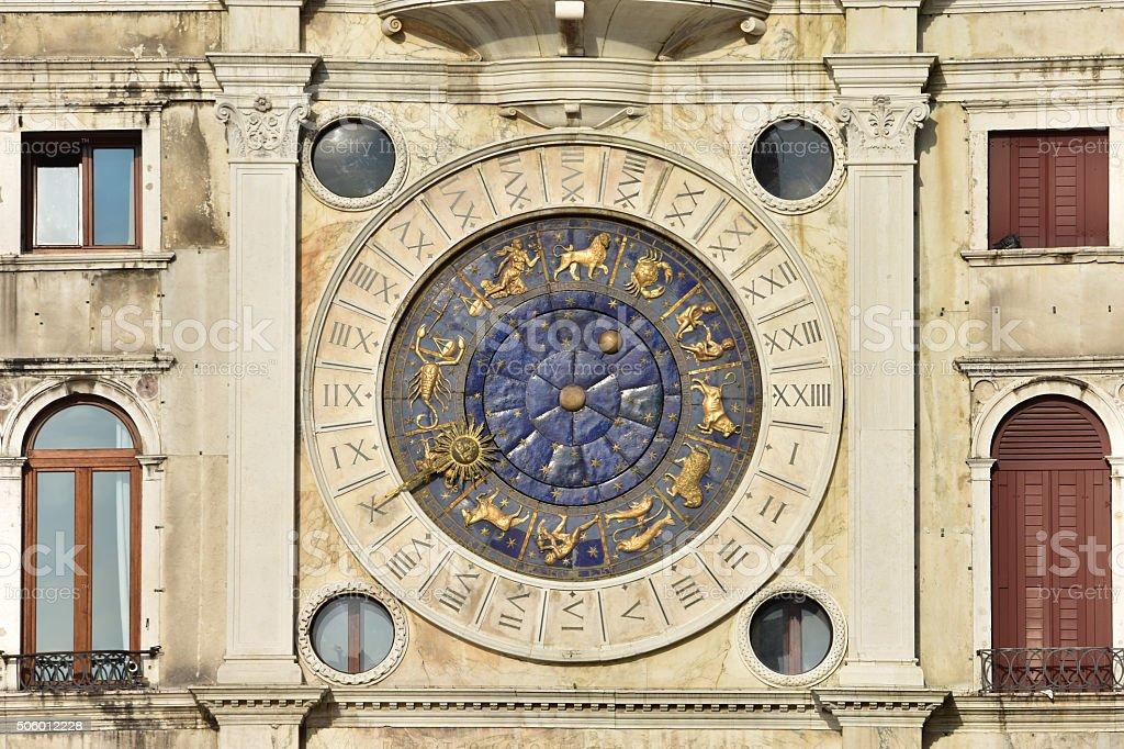 Saint Mark Clocktower with zodiac signs stock photo
