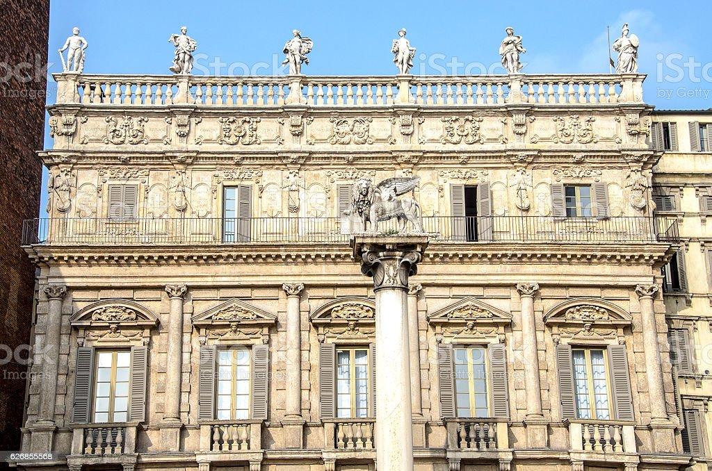 Saint Mark Lion Palazzo Maffei Piazza Erbe Verona Veneto Italy stock photo