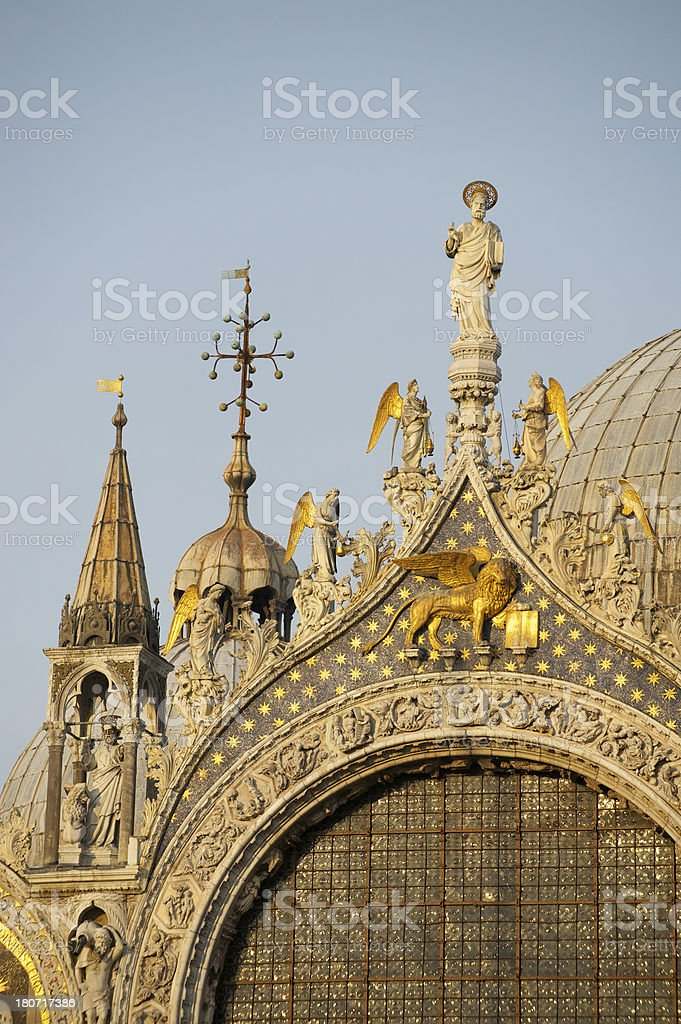 Saint Marks Cathedral Venice Close Up Detail Golden Sunset royalty-free stock photo