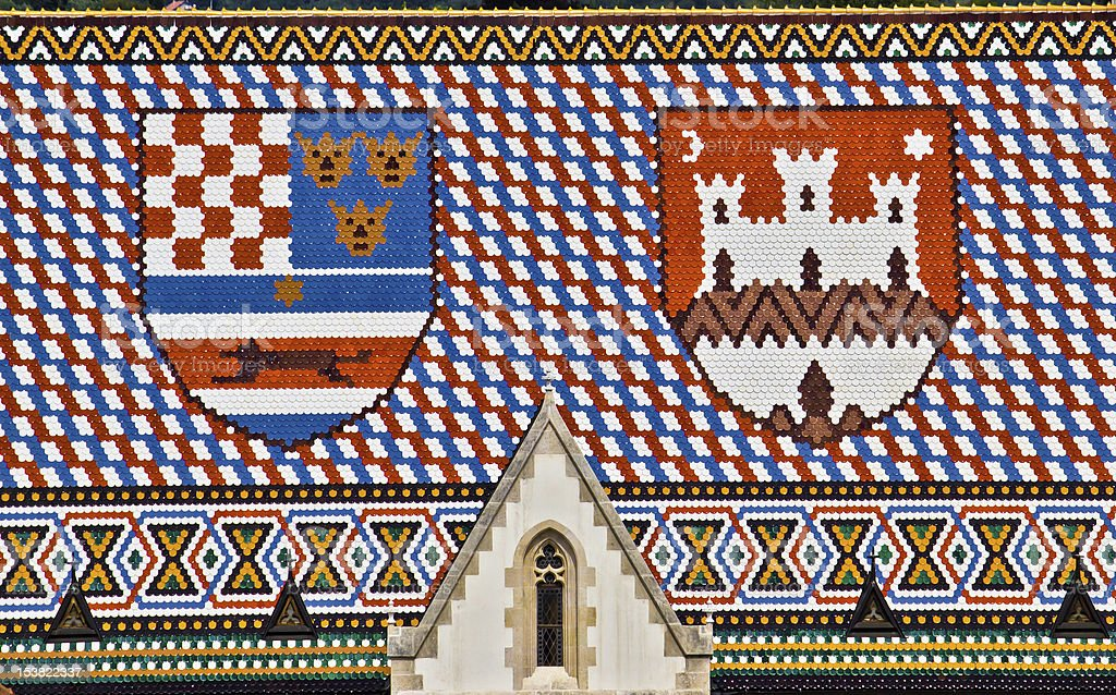 Saint Mark's church roof with Croatian coat of arms royalty-free stock photo