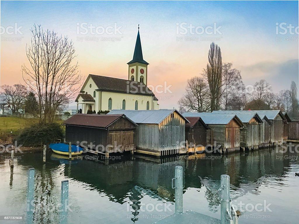 Saint Martin Church, Busskirch, Switzerland stock photo