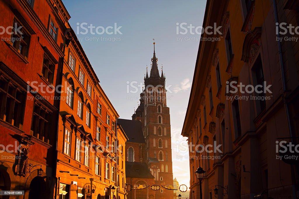 Saint Mary Basilica in Krakow stock photo