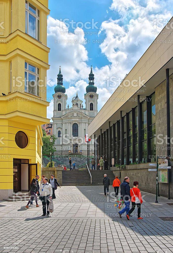 Saint Mary Magdalene Church and Promenade in Karlovy Vary stock photo