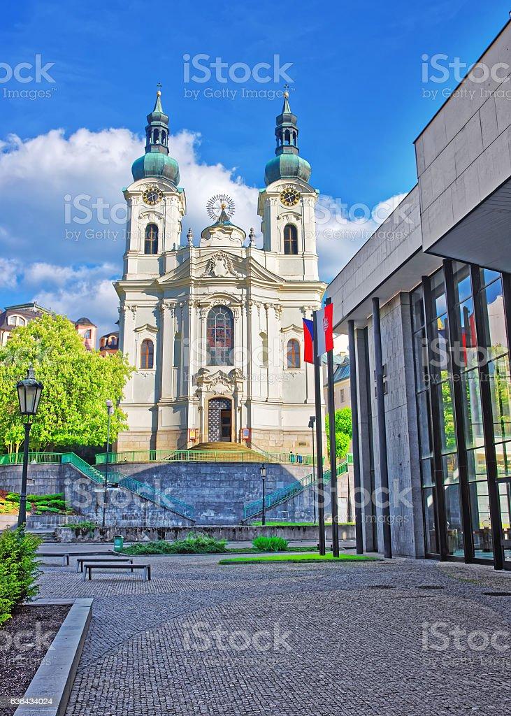 Saint Mary Magdalene Church and Promenade of Karlovy Vary stock photo