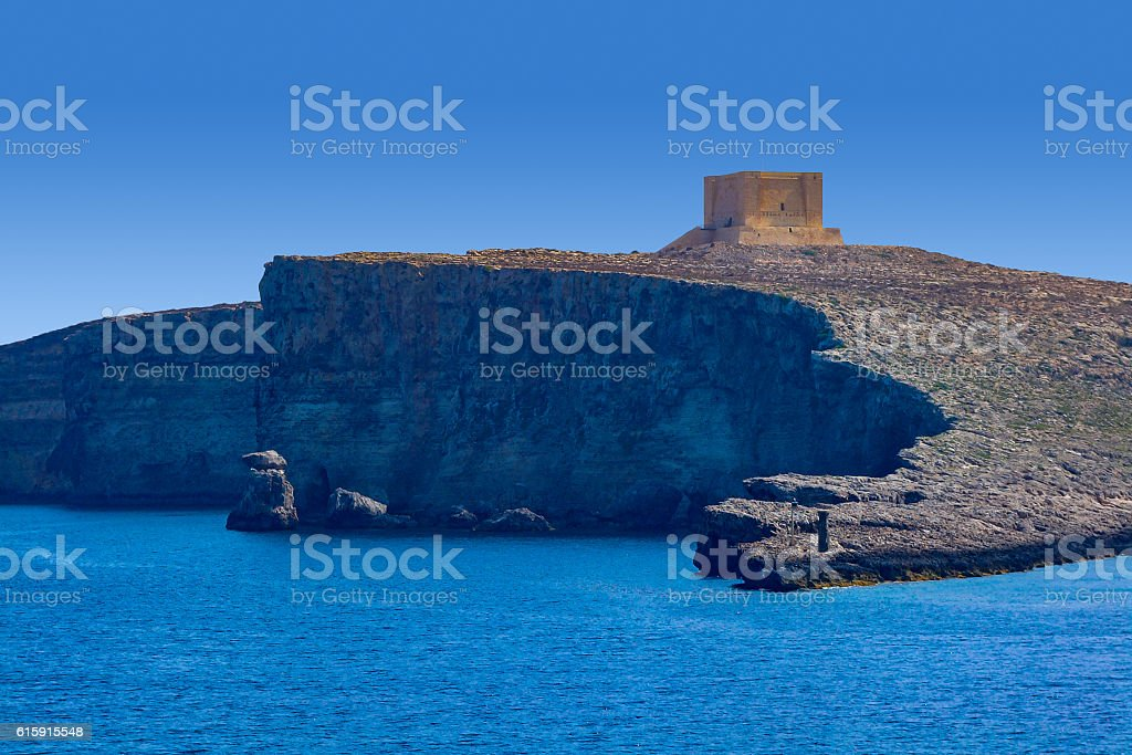 Saint Mary's Coastal Defence Tower in Comino, Malta stock photo