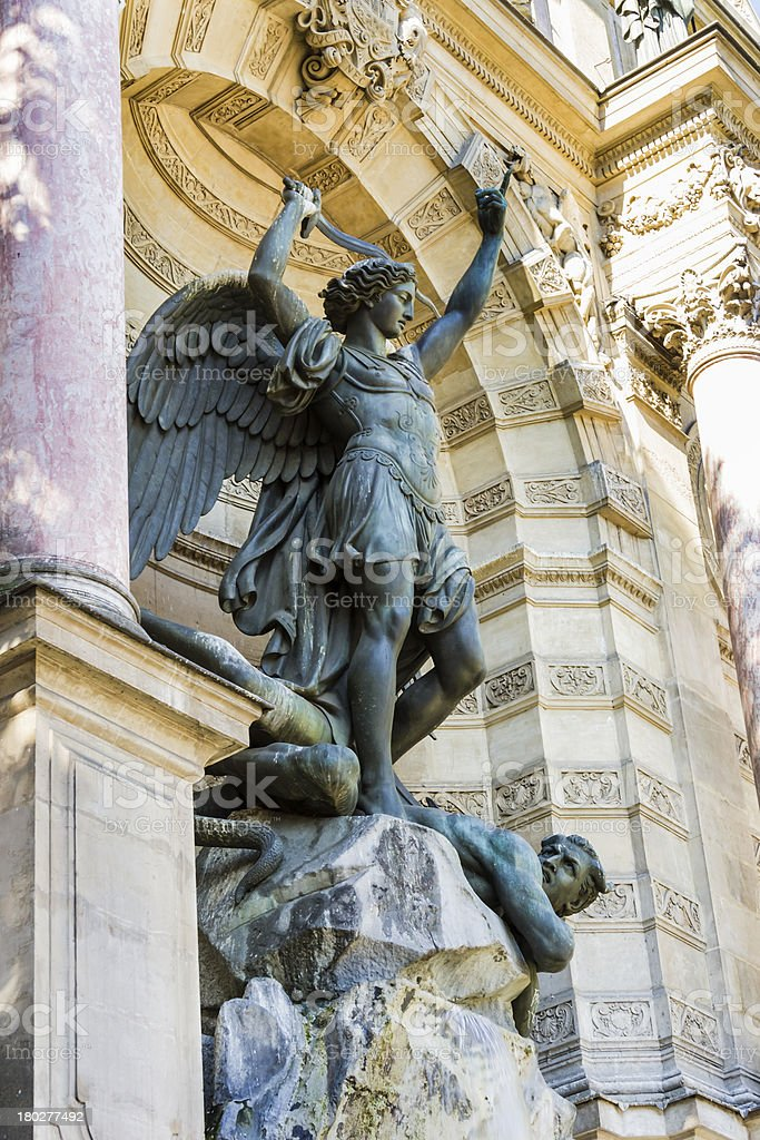 Saint Michael fountain , Paris, France stock photo