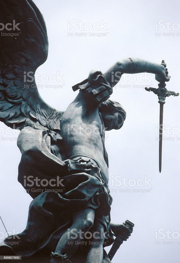 Saint Michael statue on Castel Sant'Angelo in Rome. Italy. stock photo