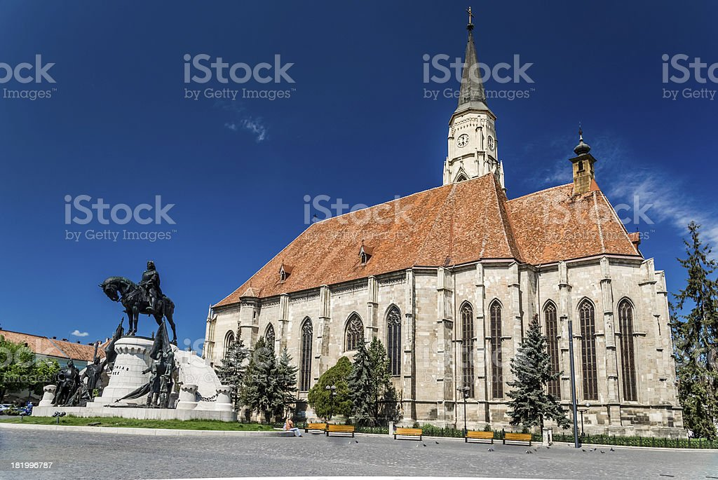 Saint Michael's gothic church and King Mathias stock photo