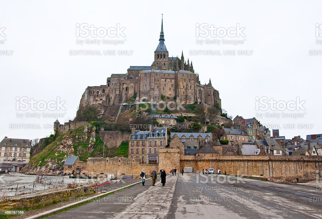 Saint Michael's Mount  from the causeway. Normandy, France. stock photo
