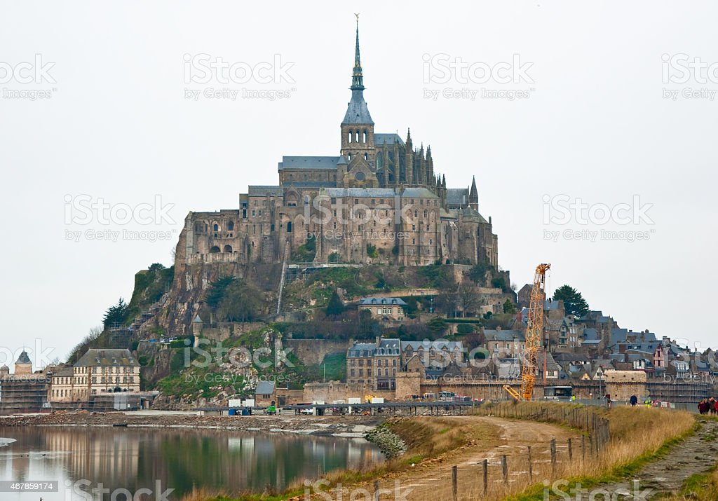 Saint Michael's Mount in the middle winter. Normandy, France. stock photo