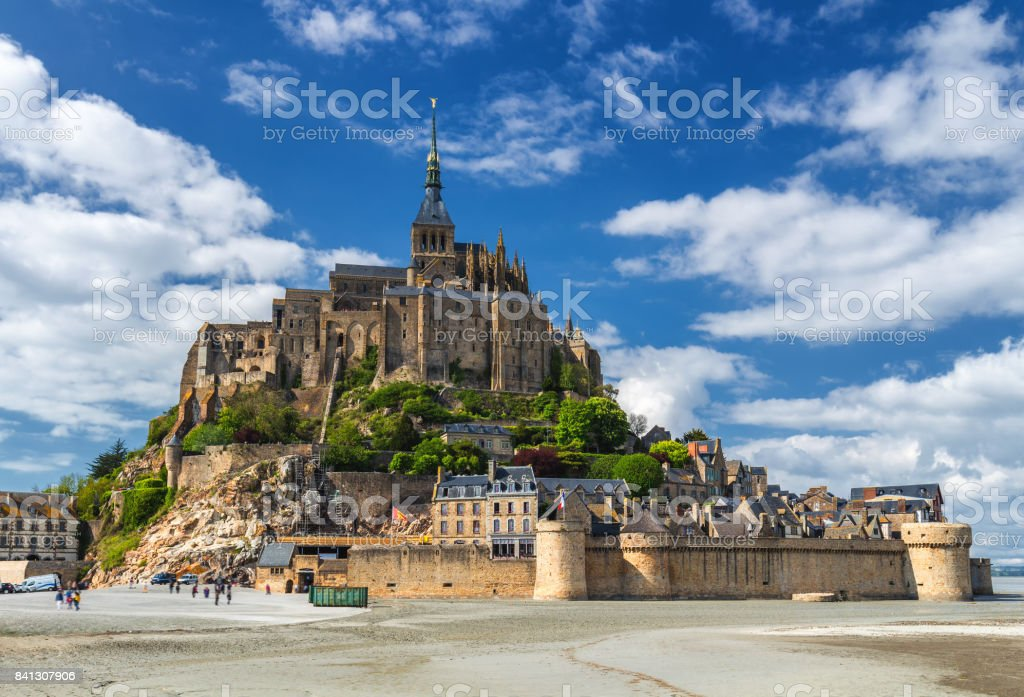 Saint Michael's Mount is an island commune in Normandy. The island has held strategic fortifications since ancient times and has been the seat of a monastery. stock photo