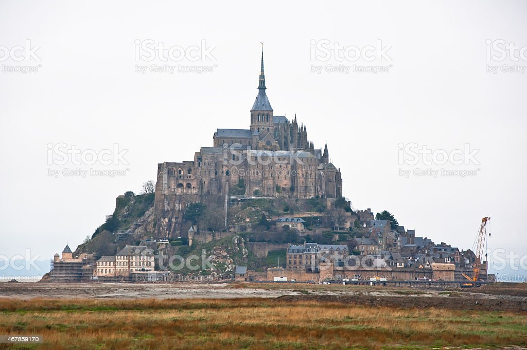 Saint Michael's Mount on a rocky cliff. Normandy, France. stock photo