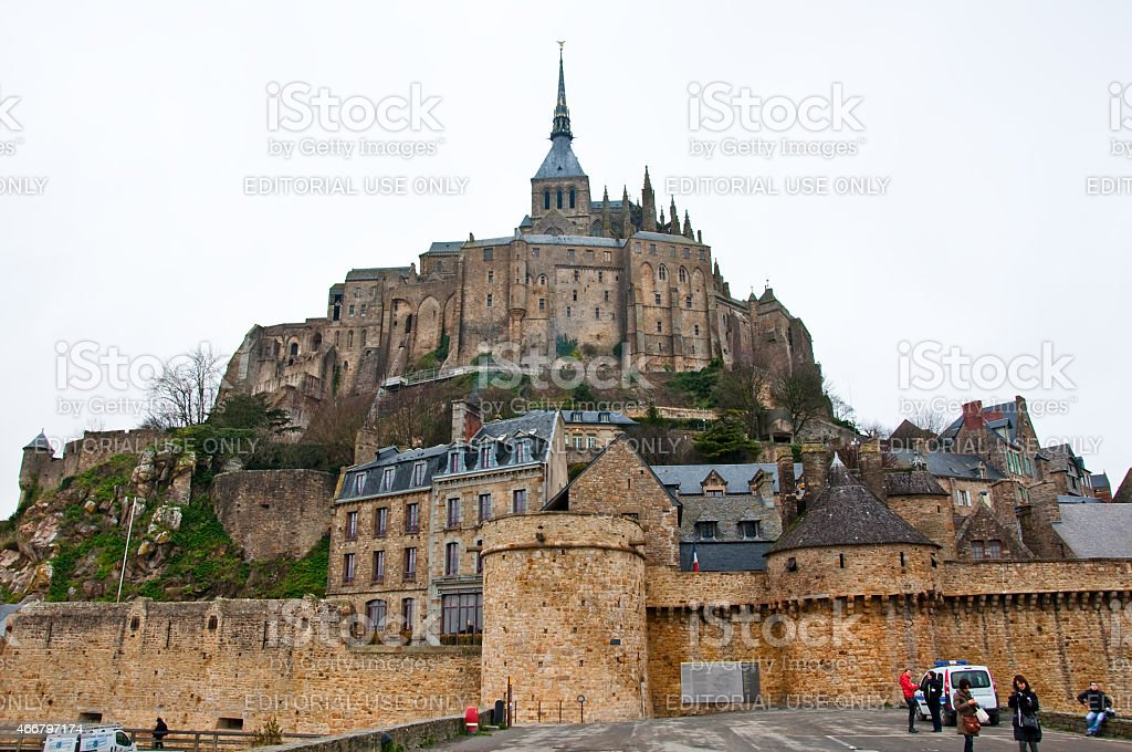 Saint Michael's Mount seen from the causeway Normandy, France. stock photo