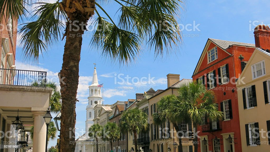 Saint Michaels Steeple, Palm Trees, Charming Charleston South Carolina Street stock photo