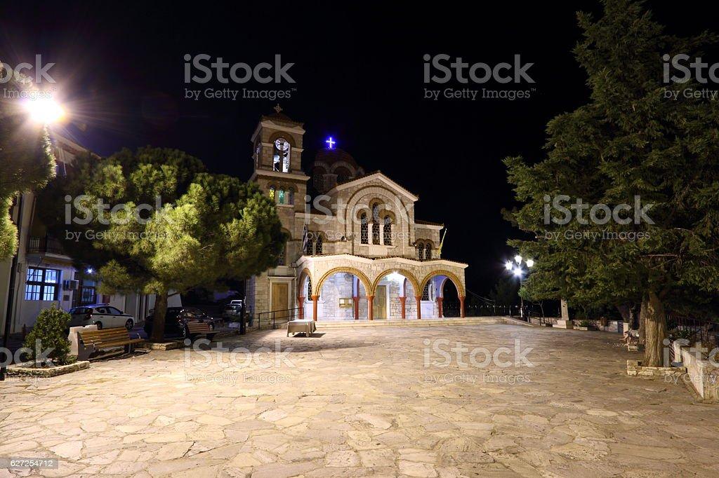 Saint Nicholas Church at Night in Delphi Greece stock photo