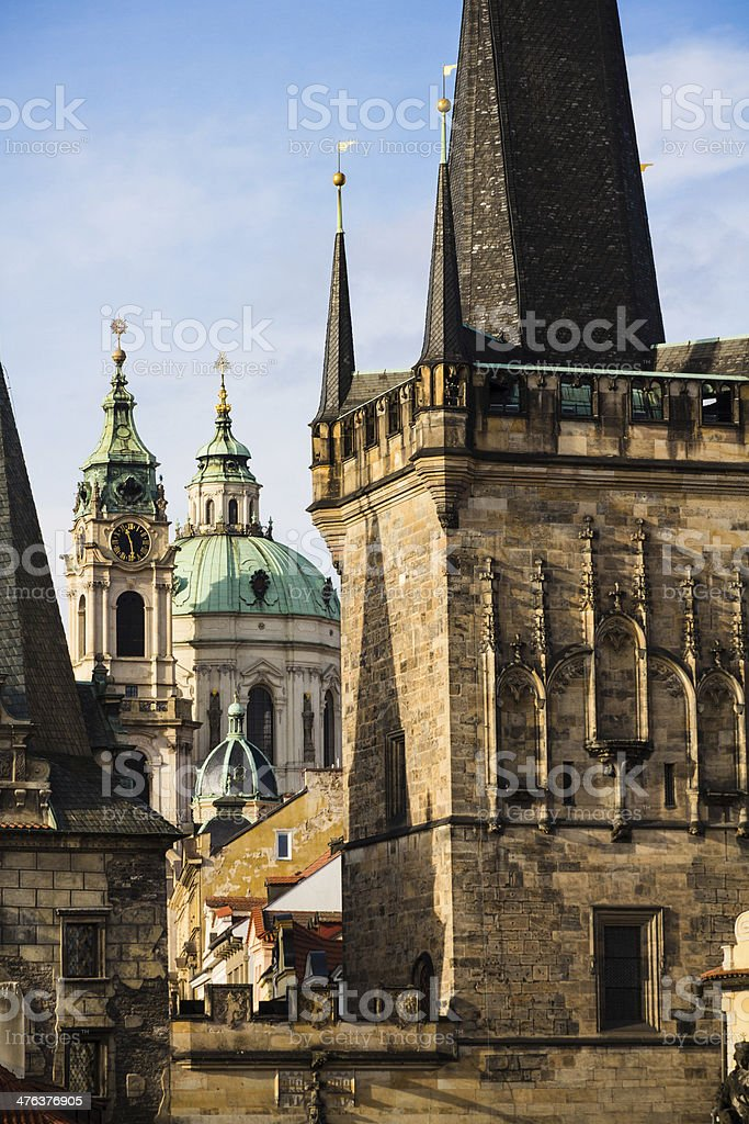 Saint Nicholas Church framed by Mala Strana Towers, Prague royalty-free stock photo