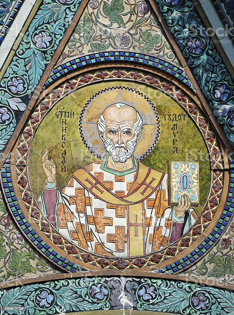 Saint Nicholas icon in the church - patron of seafarers royalty-free stock photo