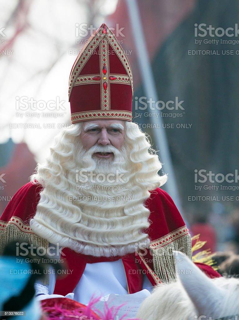 Saint Nicholas on his white horse stock photo