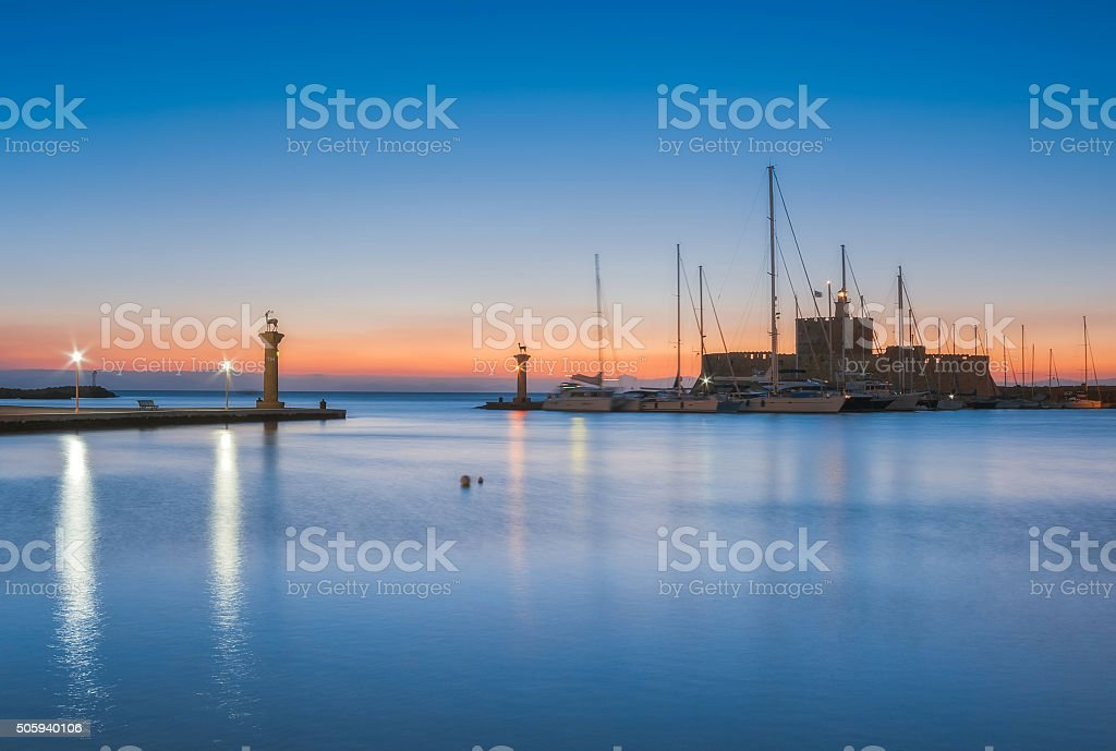 Saint Nikolaos fortress and the statue of the Deer. stock photo