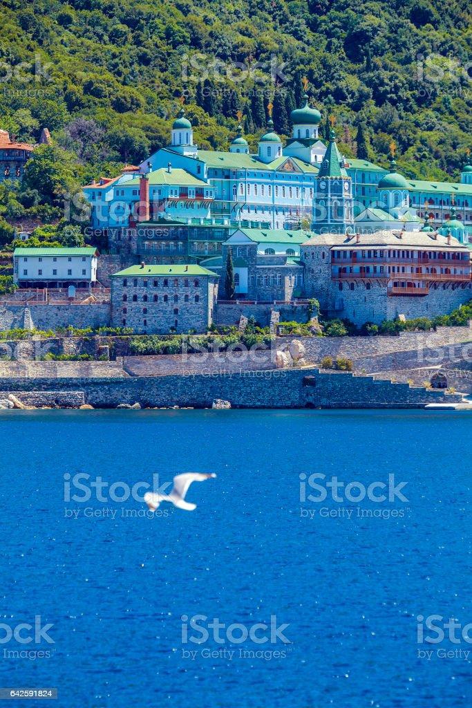Saint Panteleimon Monastery,  Mount Athos stock photo