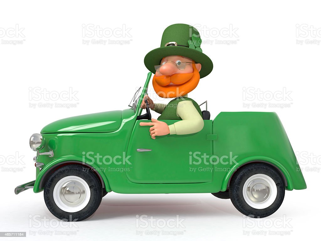 Saint Patrick by car stock photo