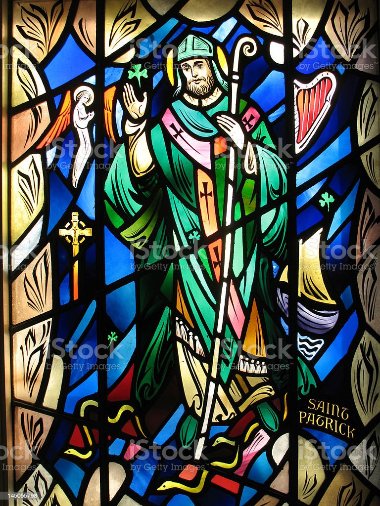 Saint Patrick Stained Glass royalty-free stock photo