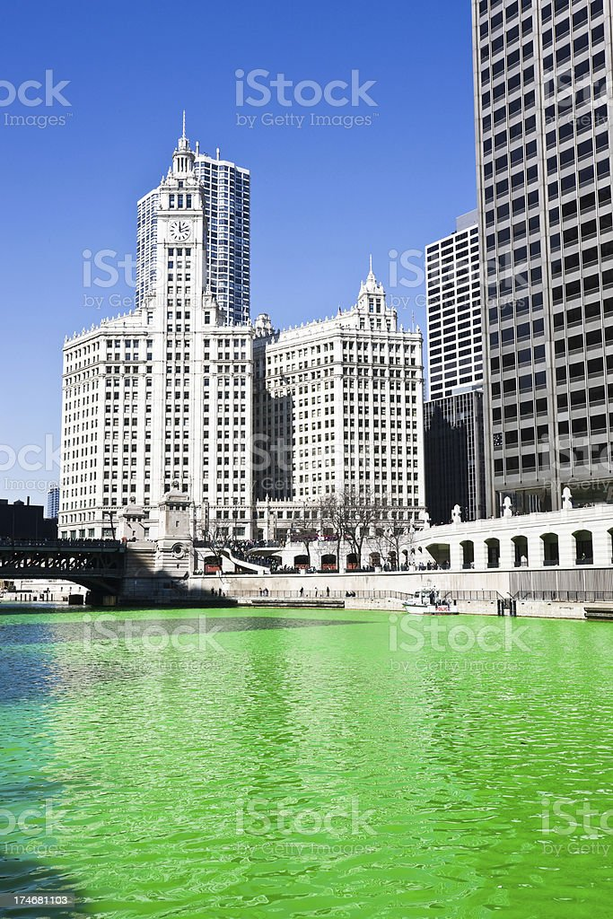 Saint Patricks Day Chicago River royalty-free stock photo