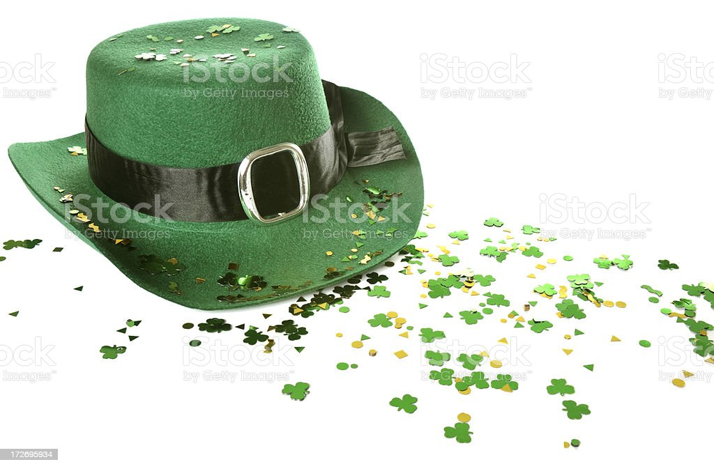 Saint Patrick's Day hat and clovers royalty-free stock photo