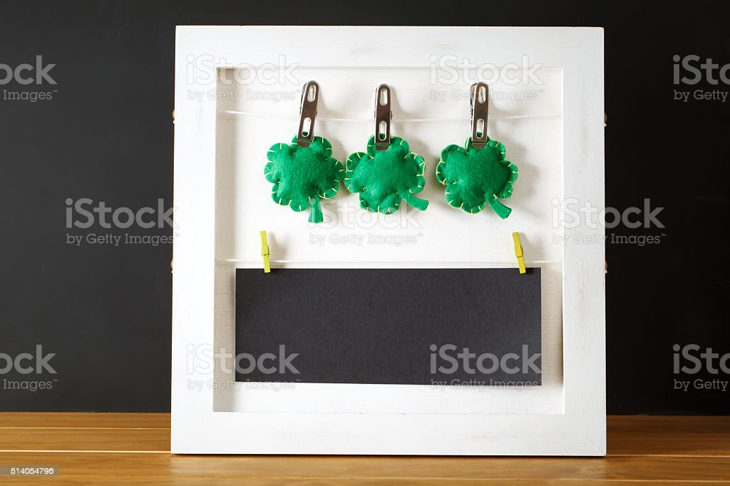 Saint Patricks Day message board stock photo